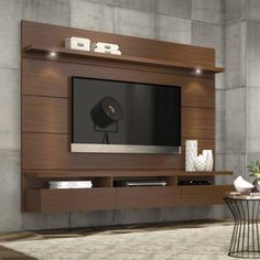 Manhattan Comfort Cabrini Theater Entertainment Center Panel in Nut Brown-Hosting the Super Bowl? Enjoying a quiet intimate evening at home? Your TV has never looked better mounted on the Cabrini Theater Panel. Simply attach it to the panel using Home Entertainment Centers, Floating Entertainment Center, Contemporary Entertainment Center, Entertainment Products, Tv Wall Design, House Design, Screen Design, Lcd Unit Design, Design Shop