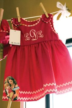 Monogrammed Dress with rick rack trim
