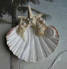 Seashell Ringbearer Pillow with Starfish by EnchantedStarfish, $27.00