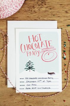 Creative Hot Chocolate party invites ... page is no longer available but a great idea