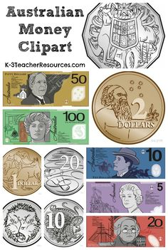 Australian Money Clipart Images - available in colour and black and white… Money Activities, Math Resources, Preschool Activities, Teaching Money, Teaching Math, Money Clipart, Year 1 Maths, Australian Money, Money Worksheets