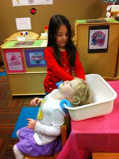 """Shampoo sink for dramatic play       One of the teachers at our school was so clever coming up with this """"shampoo sink"""". It is a dish pan..."""