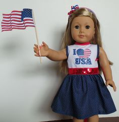 I Love the USA...4th of July Dress for American Girl Doll..and headband.