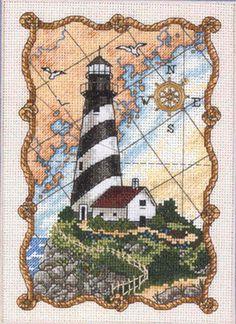 Fishxx cross-stitch C273 scenery  Lighthouse  restaurant decor