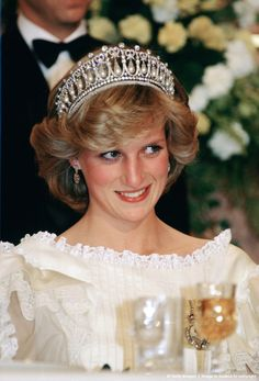 Diana, Princess of Wales attending a banquet at the Sheraton Hotel in Auckland, New Zealand.