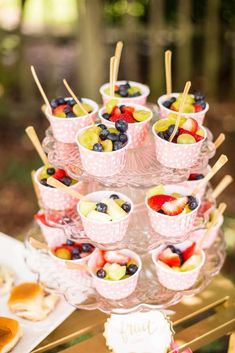 Fruit cups at a outdoor glitter birthday party! See more party ideas at CatchMyParty.com!