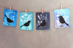 birds. Place shape on paper, paint over, place another shap on top paint over again = three toned picture