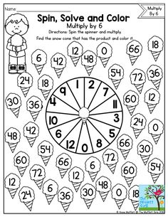 Awesome Spin Solve and Color Practicing Multiplication Facts with a fun math game for Fun Multiplication Worksheets Fun Worksheets For Kids, Math For Kids, Math Worksheets, Fun Math, Math Resources, Math Activities, Math Multiplication, Math Intervention, Third Grade Math