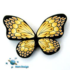 Polymer clay tan gold BUTTERFLY WING canes -by Mars