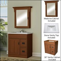 """View the Miseno MVMO30COM 30"""" Bathroom Vanity Set - Cabinet, Stone Top and Medicine Cabinet Included at FaucetDirect.com."""