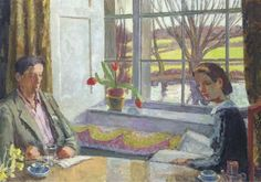 Vanessa Bell: The Dining Room Window, 1937. This is a painting of Duncan Grant and Angelica Bell at Charleston.