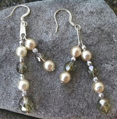 Pearl and Crystal Dangles by GABISCREATIONS on Etsy, $13.00