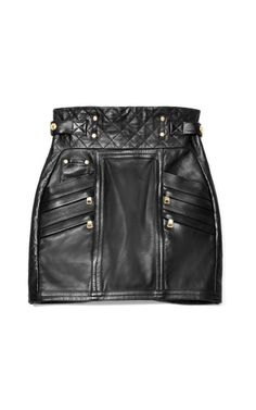 Quilted Leather Mini Skirt by Balmain Now Available on Moda Operandi