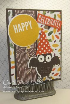 Stampin' Up!, Howl-o-ween Treat, Into the Woods Designer Paper, Celebrate Today, DIY Crafts, September Online Class card. Receive a total of 6 cards, two each of 3 different designs, when you order $35 in my online store by September 30th! http://www.stampinup.net/esuite/home/carolpayne/