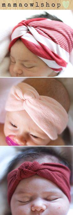 Cute and reasonably priced baby head wraps and turbans from Mama Owl Shop. #baby #headband