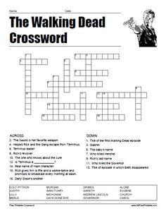 free walking dead printables | Free Printable The Walking Dead Crossword