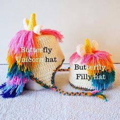 Unicorn crochet hat - The BUTTERFLY - unicorn crochet hair of pink, yellow, green, blue, purple - perfect handmade unicorn gift for girls Baby Unicorn, Unicorn Hair, Crochet Unicorn Hat, Crochet Hats, Crochet Character Hats, Birthday Gifts For Kids, Cute Hats, Newborn Photo Props, Crochet Hair Styles