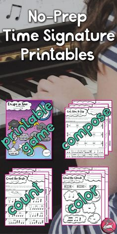 60 Time Signature Worksheets, different levels, plus printable board game for music lessons!
