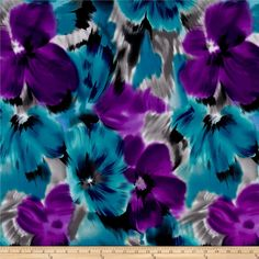 Telio Brazil Stretch ITY Knit Floral Teal/Purple from @fabricdotcom  This…