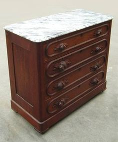 1800s Victorian Eastlake Carved Dresser with Marble Top Part of A