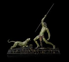 Demetre Chiparus (1888-1947) 'The Hunter' a Spelter Art Deco Group, circa 1925