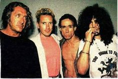 "carl-hungas:  "" Steve Jones & Johnny Rotten- the sex pistols, Iggy Pop, and Slash. Steve's thinking 'who let him in here'  """