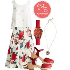 In this outfit: Make a Wisp Top, Greenhouse Grandeur Skirt, My Time has Come Watch, When Sparkles Fly Necklace, Heart and Soles Heel #floral #croptop #ontrend #outfits #style #summer #chic #SwedishHasbeens #ModCloth #ModStylist #fashion