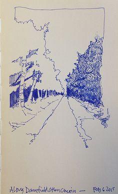Really fast sketch of a woody path in Danefield Woods, Otley Chevin.... Blue pen in a Moleskine sketchbook | por John Harrison, artist