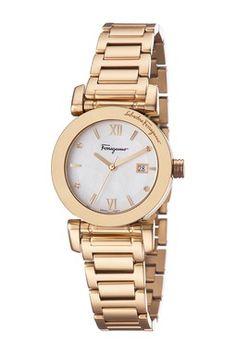 4385e637a49 Ferragamo Women s Mother of Pearl Dial Bracelet Watch Pulseira De Relógio