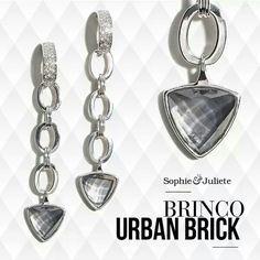 Compre aqui: www.sophiejuliete.com.br/estilista/nandabordon  Semi joias ouro branco brincos  quartzo luxo fashion