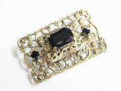Vintage Black Art Deco Rhinestone Filigree by GrandVintageFinery, $26.95