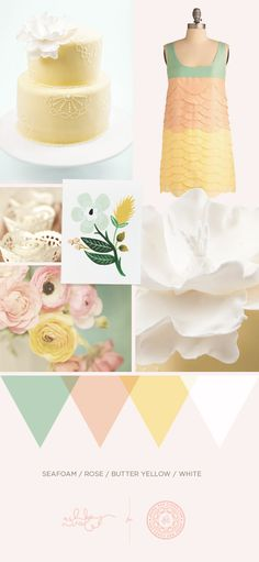 cake mood board for @Jenna Rae #seafoam #rose #yellow