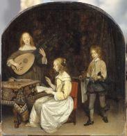 テルボルフ《演奏会、歌手とテオルボを弾く女》ルーヴル美術館