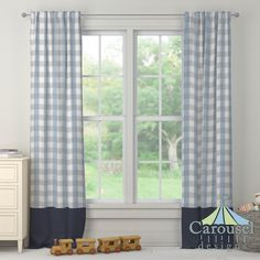 Custom drapes in Gray and Blue Buffalo Check, Solid Navy.  Created using the Drape Designer by Carousel Designs
