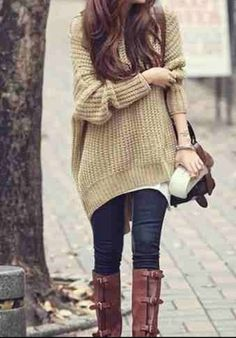 Fall Outfit With Long Boots and Cardigan