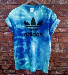 Unisex Authentic Adidas Originals Tie Dye Sea Blue Tie Dye T-shirt