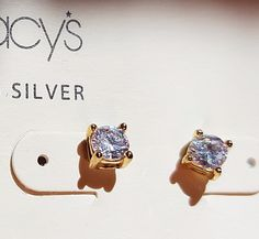 Macys earrings 18 KT 3 Pairs Gold Over Sterling Silver Studs Cubic Zirconia NWT #Macys #Stud
