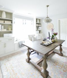 Shades of Summer Home Tour with Neutrals and Naturals- pretty home office using dining table as desk