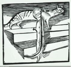 MARCKS Gerhard, 1889-1981.  Die zwei kleinen Katzen, Holzschnitt