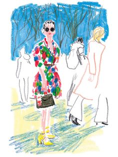 Who: Ploy Chava, social and style editor at Elle Thailand, going to the Carven show Where: Jardin des Tuileries When: Thursday, March morning Illustration by Damien Florébert Cuypers Illustration Design Graphique, Art Et Illustration, People Illustration, Crayon Drawings, Art Drawings, Illustrations And Posters, Painting & Drawing, Crayon Painting, Art Sketchbook