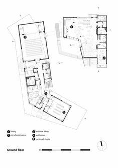 Galerie des Rehovot Community Center / Kimmel Eshkolot Architects – 24 – 지화 신 Cultural Architecture, Architecture Design, Library Architecture, Concept Architecture, Youth Center, School Plan, Community Space, Activity Centers, Plan Design