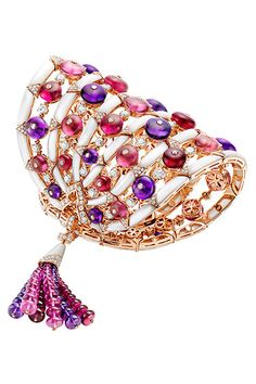 Carla Bruni for Bulgari Jewelry - Bulgari Amethyst, rubellite, pink tourmaline, and diamond bracelet, 800-BULGARI.