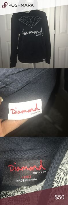 Diamond Supply Co Hoodie Barely worn,great condition & comfy. It's a hard color to capture but is a very dark navy/black hoodie Diamond Supply Co. Tops