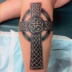 Cool Celtic Cross Gentlemens Tattoos On Legs Celtic Cross Tattoo For Men, Celtic Tattoos For Men, Viking Tattoos, Leg Tattoos, Arm Band Tattoo, Body Art Tattoos, Tribal Tattoos, Sleeve Tattoos, Tattoos For Guys
