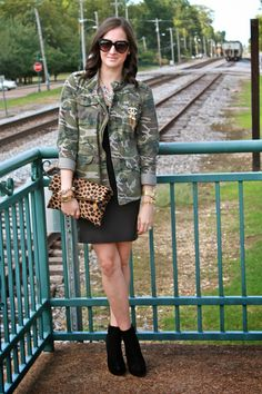 Wake Up Your Wardrobe What I Wore: Fancy in Fatigue Camo Jacket, Leather Dress, Ankle Booties