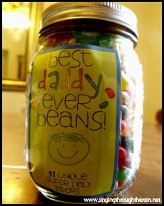 Daddy Jelly Bean Jar for deployment countdown. (You know I'd fill this with kitkats but I would need a pretty big jar. M&M's will do. :)