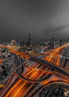 'Urban Rush' by Karim Nafatni, via .Dubai, U. highway system, showing the Burj Khalifa Tower, the tallest building in the world (at feet tall). Color Splash, Color Pop, Wonderful Places, Beautiful Places, Places To Travel, Places To Visit, Wallpaper Aesthetic, Foto Art, Burj Khalifa