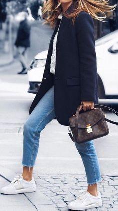LV pochette Metis, Navy coat, denim jeans, white sneakers & lace