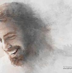 Yongsung Kim biblical art – That day Yeshua met me God and Jesus Christ Lds Art, Bible Art, Jesus Art, God Jesus, Jesus Laughing, Laughing Jesus Picture, Jesus Smiling, Pictures Of Jesus Christ, Jesus Painting