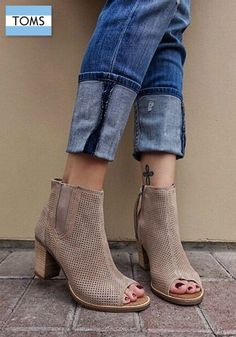 TOMS peep-toe booties add a touch of comfort to your more stylish outfits.